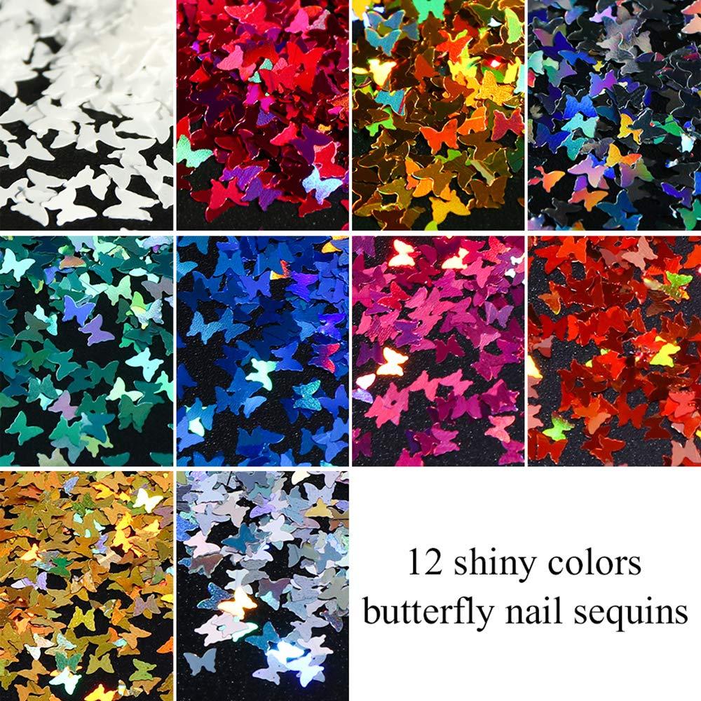 Kalolary 20 Farbe 20d Schmetterling Glitzer Nägel Glitzer Sequin ...