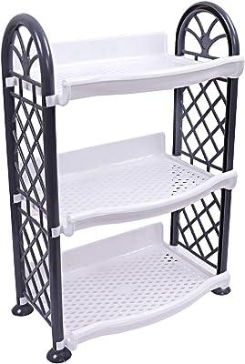 Kuber Industries Plastic 3 Layer Multipurpose Storage Rack (Grey) -CTLTC12584