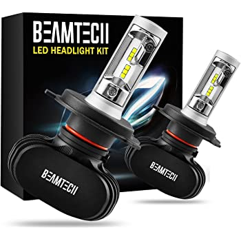 BEAMTECH H4 LED Headlight Bulb, 50W 6500K 8000Lumens Extremely Brigh (9003 Hi/Lo) CSP Chips Conversion Kit