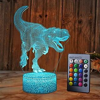 مصباح HDZWOO بتصميم ديناصور ثلاثي الأبعاد للأولاد، 16 لونًا مع جهاز تحكم عن بعد، إضاءة ليلية ذكية تعمل باللمس، أفضل هدية ل...