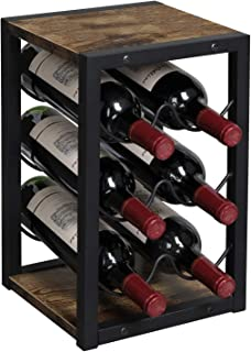 OROPY Vintage houten wijnrek voor 6 flessen, 3 Tier vrijstaande aanrecht fles houder opbergplank voor keuken, kast, bar, k...