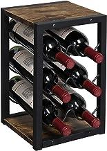 OROPY Vintage wijnrek voor 6 houten flessen, 3-etages, vrijstaand bureau-flessenhouder, opbergrek voor keuken, kast, bar, ...