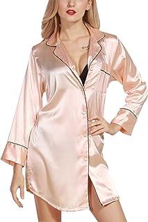 48ac7f2e336e3 Luxspire - Manches Longues Comme la Soie Sexy pour Femmes Pyjamas de Nuit  Couleur Solide Chemises