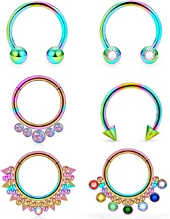 16G Surgical Steel Septum Rings Piercing Jewelry Cartilage Helix Tragus Earring Hoop Lip Horseshoe Piercing Retainer for W...