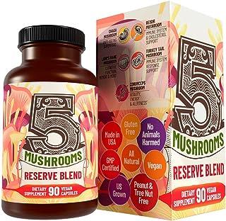 5 Mushrooms Reserve Blend Mushroom Supplement - Lions Mane, Turkey Tail, Reishi, Chaga, Cordyceps