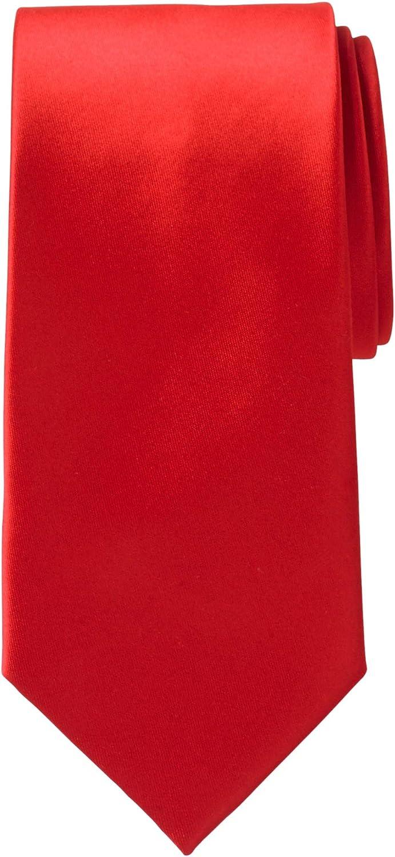 KS Signature by KingSize Men's Big & Tall Extra-Long Satin Tie - Big - 0, Red Necktie