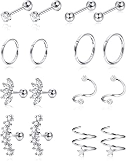 8Pairs Stainless Steel Helix Cartilage Tragus Stud Earring Hoops for Womens CZ Barbell Piercing Earrings Stud Body Piercing Jewelry