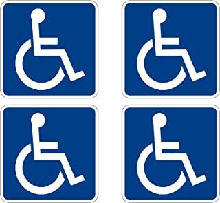 Disabled Wheelchair Symbol ADA Compliant Handicap Access Sign Pack of 4 5 X 5 Inch Blue Window Sticker Decal
