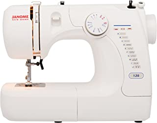 Janome Basic Easy-to-Use 128 Sewing Machine with Interior Metal Frame, Front Loading Bobbin, Compact and Portable