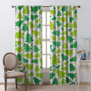 White Curtains Christmas Decoration Simplistic Fir Pine Tree Silhouettes with Checkered Pattern Fern Green Apple Green White Boys Girls Bedroom Dorm W63 xL63
