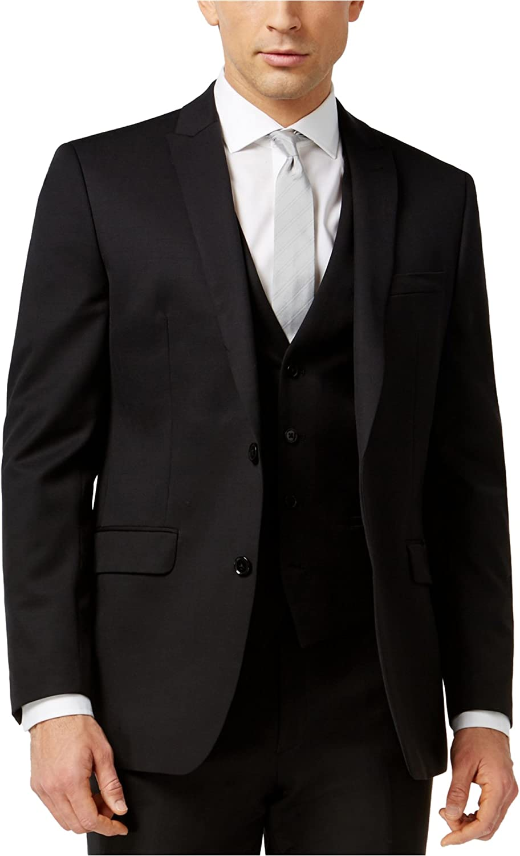 Bar III Slim Fit Blazer Black Solid 2 Button Wool New Men's Sport Coat (36 Regular)