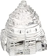Jaipur Gems Sri Yantra Crystal Quartz Shree Yantra-Blessed & Energized for Spiritual Powers, Correcting Vaastu Doshas (imbalances), Enormous Wealth & Prosperity White 21.50 Grams