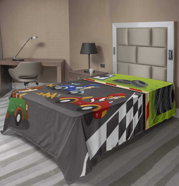Lunarable Cartoon Flat Sheet Happy Beauty products Racing free Race Playroom Cars in