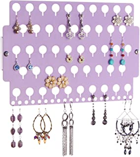 Angelynn's Jewelry Organizer Wall Mount Hanging Stud Earring Holder Organizer for Little Girls Women Closet Storage Rack, Purple