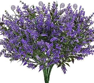 Artificial Fake Plants, Hogado 4pcs Faux Greenery Ferns Lavender Shrubs Simulation UV ResistantPlastic Bushes Indoor Outside Planter Hanging Flowers Decor Purple