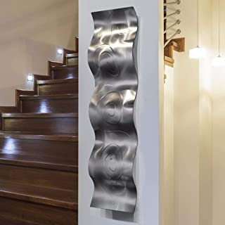 Statements2000 3D Abstract Metal Wall Art Accent Sculpture Modern Silver Home Decor by Jon Allen, 46