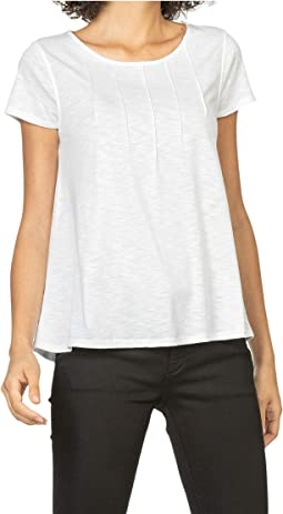Pin Tuck Jewel Neck Tee in Flame Modal
