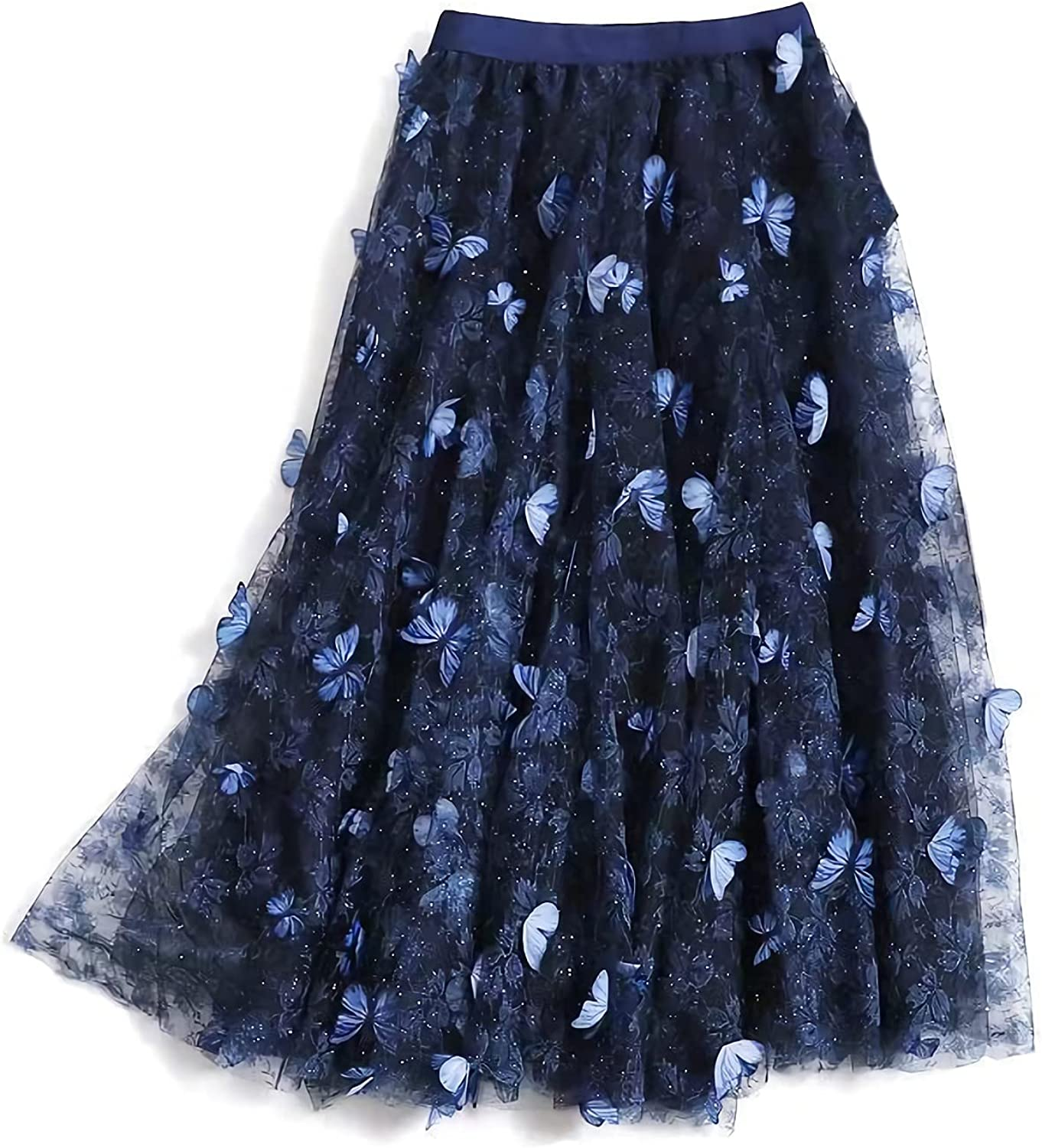 Women Midi Tulle Skirt A-Line Layered Elastic High Waist 3D Floral Embroidery Swing Skirt