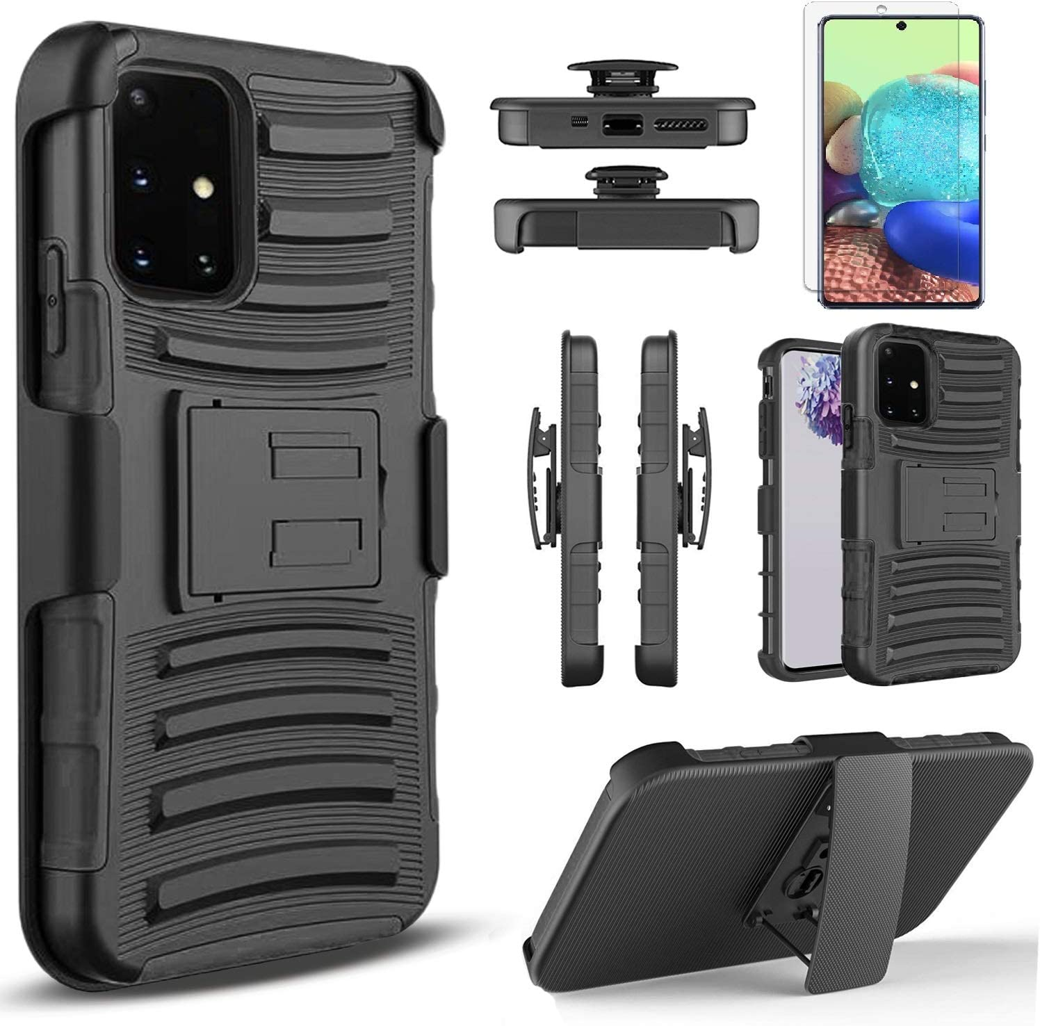 Circlemalls Compatible For -Samsung Galaxy A51 Case, [NOT FIT A51/A51 5G/A51 UW] With [Tempered Glass Screen Protector Included], Armor Heavy Duty Kickstand Cover With Belt Clip Holster - Black