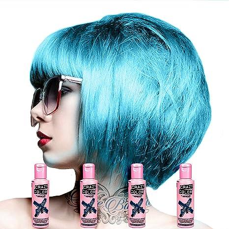 Pack De 4 x Tinte Capilar Semi-Permanente Crazy Color 100ml (Blue Jade)