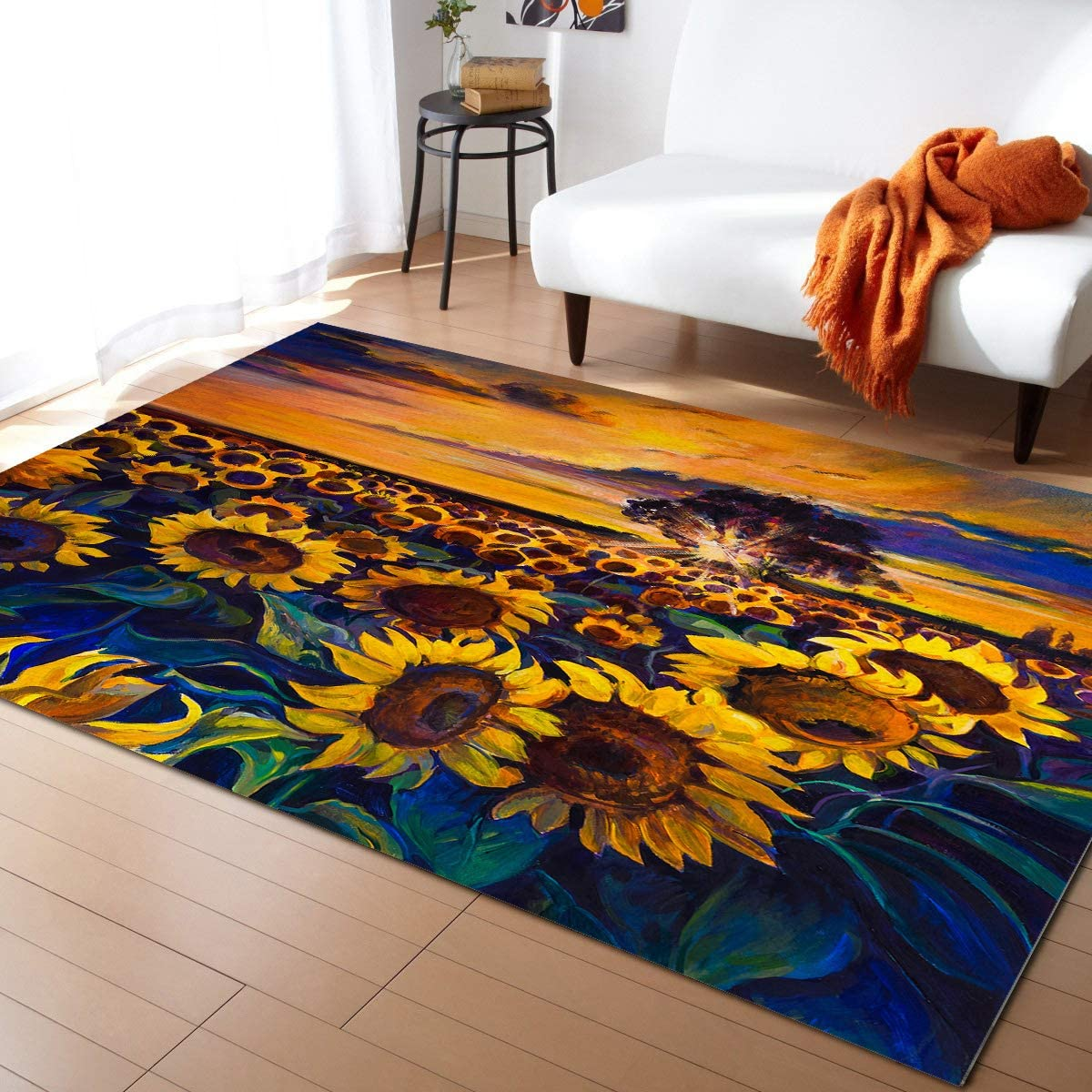 Large Area Rug for Living Room- Sunflower Blooming on The Edge of The City Soft Comfort Carpet Home Decorate Contemporary Runner Rugs, 4' x 6'