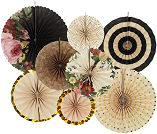 zilue Party Hanging Paper Fans Decoration Set for Wedding Birthday Party Mother's Day Round Events Accessories Set of 8