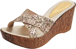 Catwalk Gold Wedges Sandals for Women's