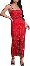 D Jill Women's 2 Piece Lace Outfit Dress Button Down Cami Crop Top Long Skirt Set
