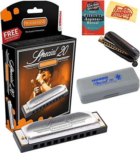 Hohner 560 Special 20 Harmonica Bundle with Carrying Case, Pouch, Harmonica Beginner Manual, and Austin Bazaar Polish...