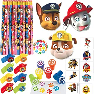 Paw Patrol Birthday Party Favor Pack and Goodie Bag Filler For 12 Guests With Paw Patrol Masks, Whistles, Tattoos, Stampers, Pencils, and Exclusive Paw Pin By Another Dream