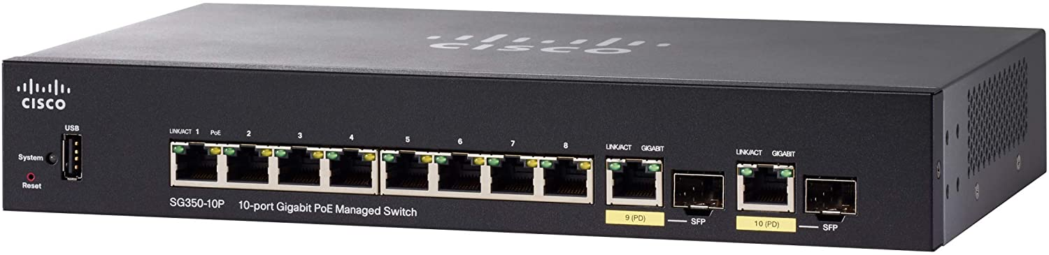 CISCO SG350-10P Managed Switch with 10 Gigabit Ethernet (GbE) Ports with 8 Gigabit Ethernet RJ45 Ports and 2 Gigabit Ethernet Combo SFP plus 62W PoE, Limited Lifetime Protection