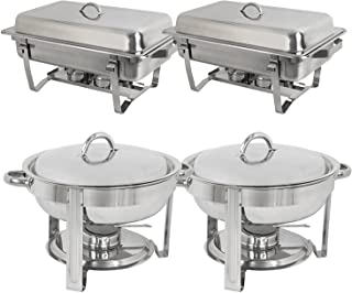 Super Deal Stainless Steel Combo - 2 Round Chafing Dish + 2 Rectangular Chafers