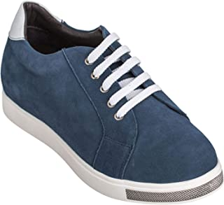 CALTO Men's Invisible Height Increasing Elevator Shoes - Blue Suede Lace-up Casual Fashion Sneakers - 2.4 Inches Taller - Y26191