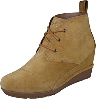 Skechers Womens Bobs Boots High Peaks Casual Suede Ankle Wedges - Chestnut