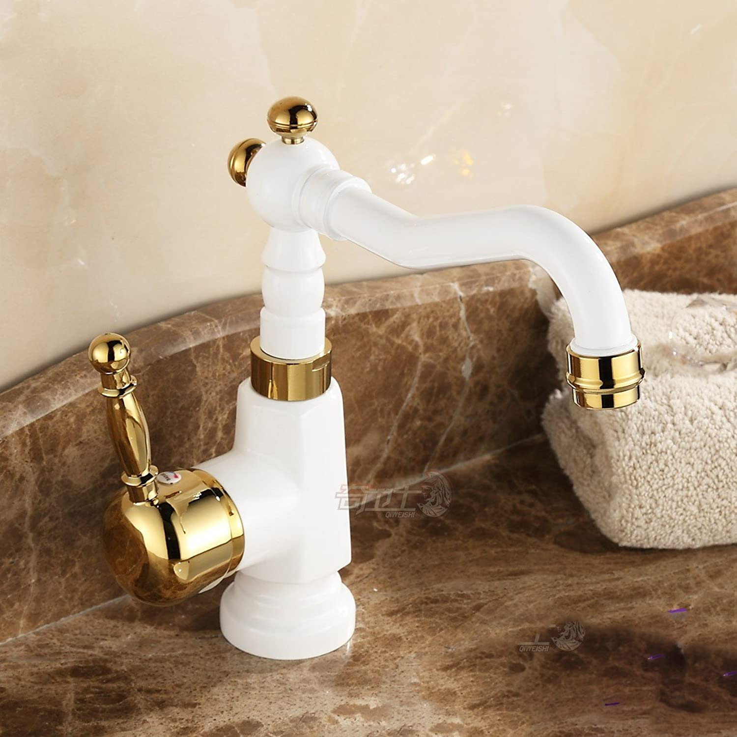 Hlluya Professional Sink Mixer Tap Kitchen Faucet Retro faucet hot and cold to redate the white paint plus high basin full copper antique table basin water dragon, grilled white lacquer tea pot low