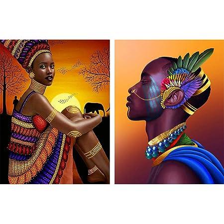 Reofrey 2 Piezas 5d Diamond Painting Pintura Diamante Faldas Africano Hombres Mujeres Arte Bricolaje Punto Cruz Imitación Bordado Pegatinas De Pared Decoración De Sala 30x40cm Amazon Es Hogar