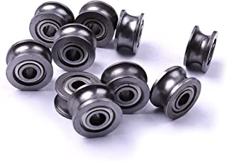Atoplee 10pcs Bearing Steel U Groove Sealed Ball Bearings (ID)4mm x (OD)13mm x (Thickness)7mm