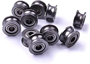 Atoplee 10pcs Metal Sealed Guide Wire Line Track Deep U Groove Pulley Rail Ball Bearing (4x13x7mm) U624ZZ4