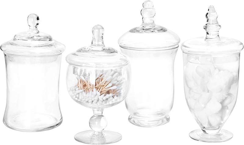 MyGift Set Of 4 Clear Glass Apothecary Jars Candy Buffet Containers With Lids