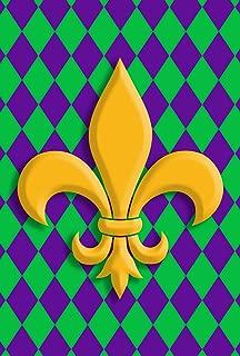 Toland Home Garden Harlequin Fleur De-Lis 12.5 x 18 Inch Decorative Mardi Gras Classic Design Garden Flag