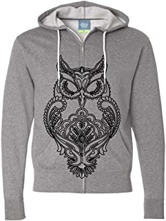Mystical Owl Stencil Black Zip-Up Hoodie