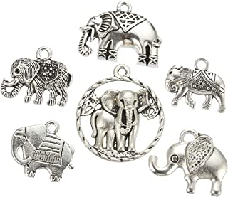 42pcs (About 110g) Mixed Style Antique Silver Plated Elephant Charms Animal Charm Pendant Bracelets Necklace Jewelry Findings Jewelry Making Craft DIY(a-1103)
