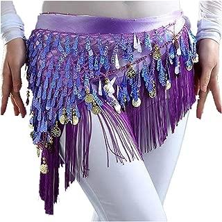 MUNAFIE Belly Dancing Belt Colorful Waist Belly Dance Hip Scarf Belt Triangle Skirt