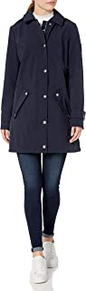 Women's Water Resistant Traditional Soft Shell Rain Jacket with Removable Hood