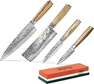 XOTO Premium Stainless Steel Chef's Knife 4-Blade Bundle Including 2-Sided Sharpening and Polishing Whetstone
