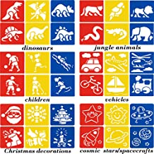 DAKER Drawing Stencils - 36 Pack Plastic Stencil Templates for Kids Crafts, School Projects, Painting Learning - Washable