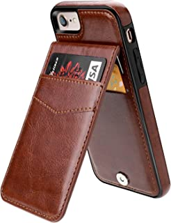 iPhone 7 iPhone 8 Case Wallet with Credit Card Holder, KIHUWEY Premium Leather Magnetic Clasp Kickstand Heavy Duty Protective Cover for iPhone 7/8 4.7 Inch(Brown)