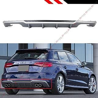 Fits for 2017-2018 Audi A3 5 Door Sportback 8V S3 Style Quad Exhaust Rear Bumper Diffuser Valance
