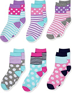 Jefferies Socks Girl's Dots/stripes Fashion Cotton Crew Socks 6 Pair Pack Socks
