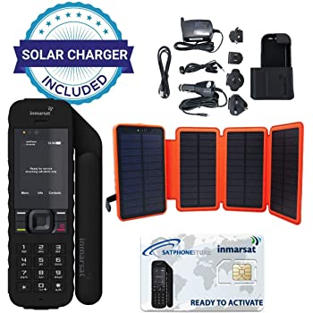 SatPhoneStore Inmarsat IsatPhone 2.1 Satellite Phone Hiker Package with Solar Charger and Blank Prepaid SIM Card Ready for Easy Online Activation